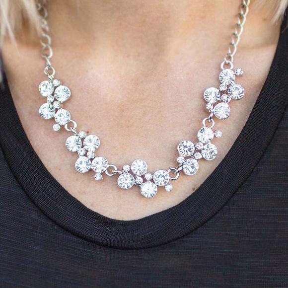 paparazzi Jewelry | White Rhinestone Necklace Earrings Bracelet .
