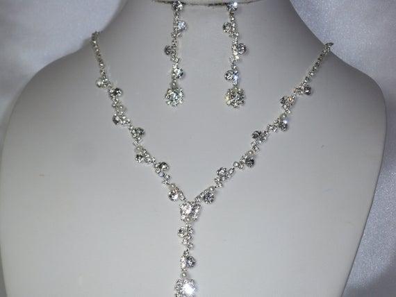 Rhinestone necklace set bridal jewelry prom necklace | Et
