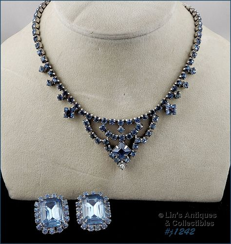 Vintage Rhinestone Necklace and Earrings Shades of Blue Silver .