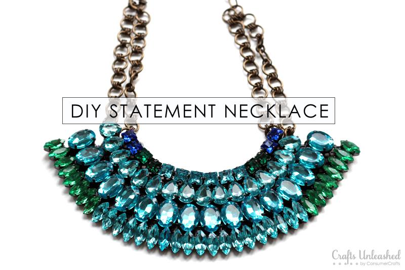 Statement Necklace Tutorial: DIY Rhinestone Neckla