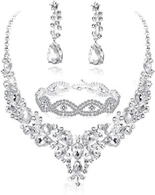 Amazon.com: Fiasaso 3pcs Crystal Bridal Jewelry Set for Women .