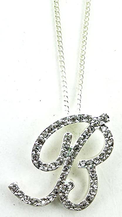 Amazon.com: Rhinestone Letter B Pendant Necklace -Initial Cursive .
