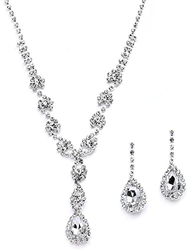 Amazon.com: Mariell Sparkling Clear Rhinestone Necklace and .