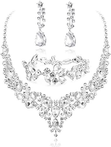 Amazon.com: LOYALLOOK Crystal Bridal Jewelry Set for Women .