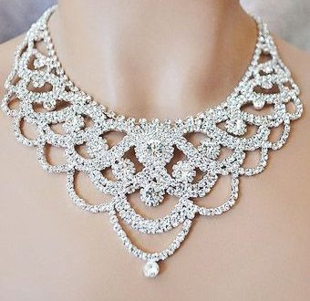Extravaganza rhinestone necklace and earrings s