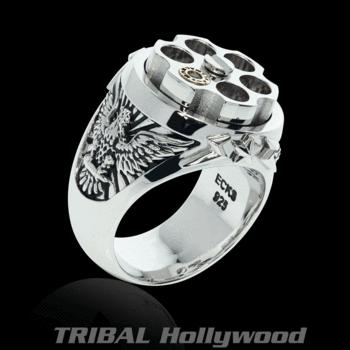 LAST SHOT Revolver Eagle Mens Ring in Silver and Gold from Ec