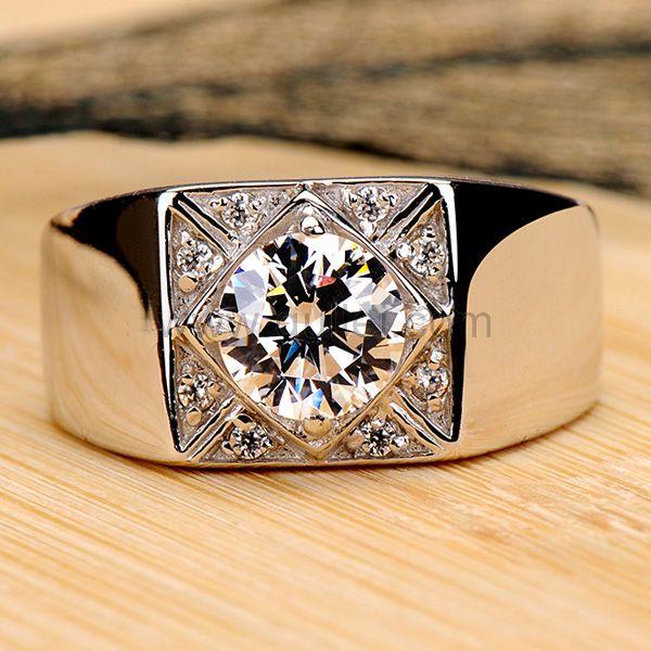 0.8 Ct Diamond Ring for Men Engravable Platinum Plated .