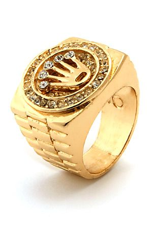 Men's Gold Crown CZ Hip Hop Ring by King Ice use rep code: OLIVE .
