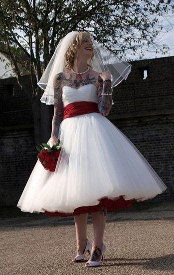 1950s Wedding Dress,Tea Length Wedding Dress,Rockabilly Wedding .