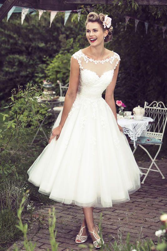 Brighton Belle Tea Length Wedding Dress | Mae | A-line wedding .