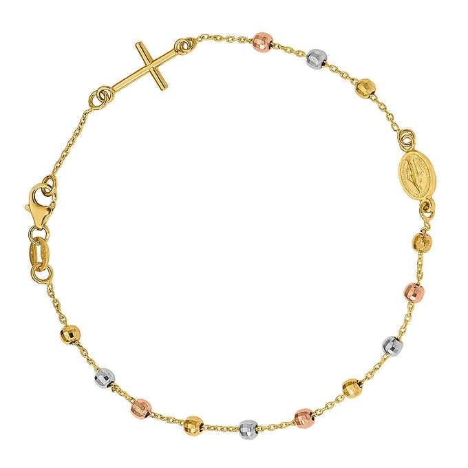 14kt Tri-Color Gold Rosary Bracel