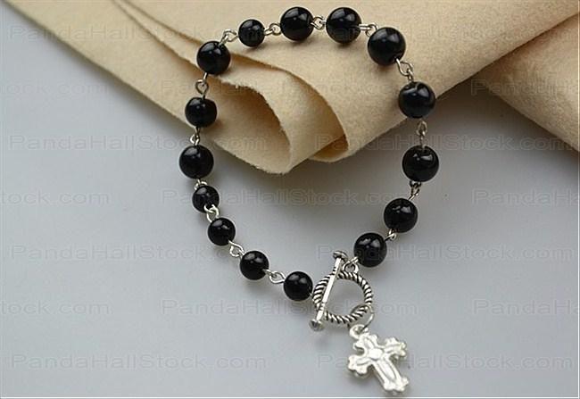 DIY rosary bracelets : How to make rosary bracelet with eyepins .