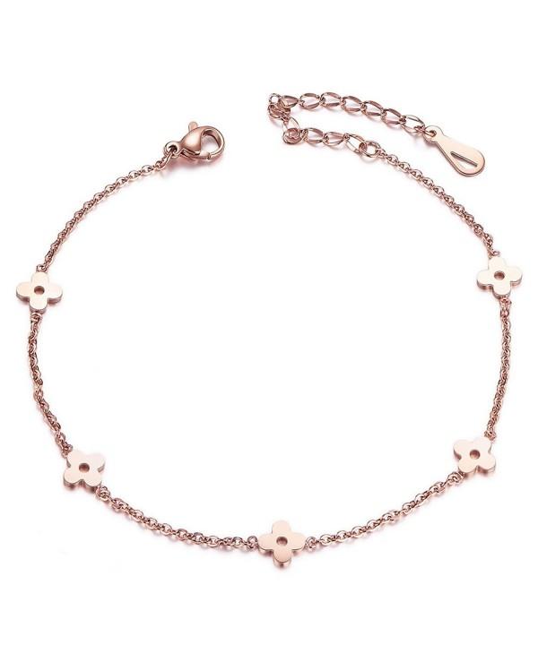 SHEGRACE Flower Bead Chain Anklet for Women- Rose Gold Anklet .