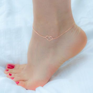 Rose Gold Anklet - Gold Heart Anklet -Silver Anklet-Beach Jewelry .
