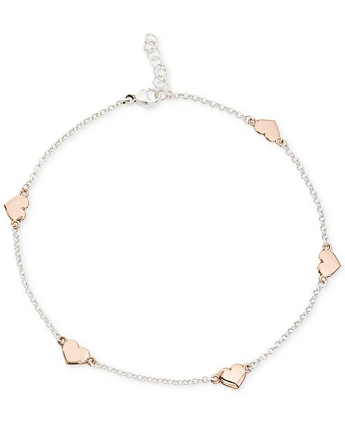 Giani Bernini Two-Tone Heart Anklet in Sterling Silver and 18k .