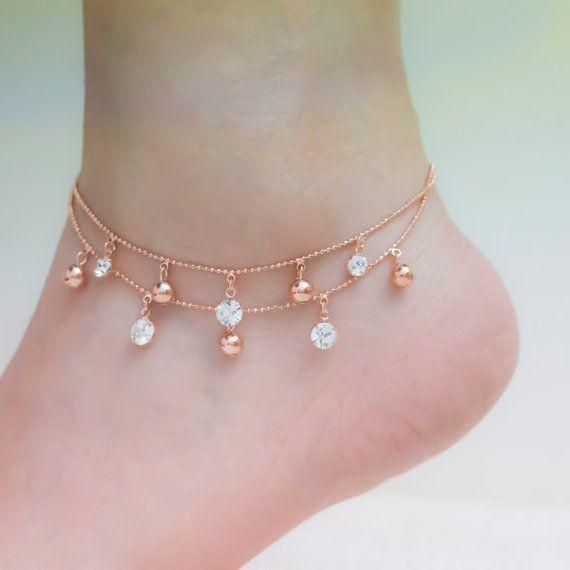 Rose gold ankle bracelets, rose gold anklet, ankle bracelet, rose .