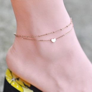 Hot Selling Quality Rose Gold Color Stainless Doulbe Chain Heart .