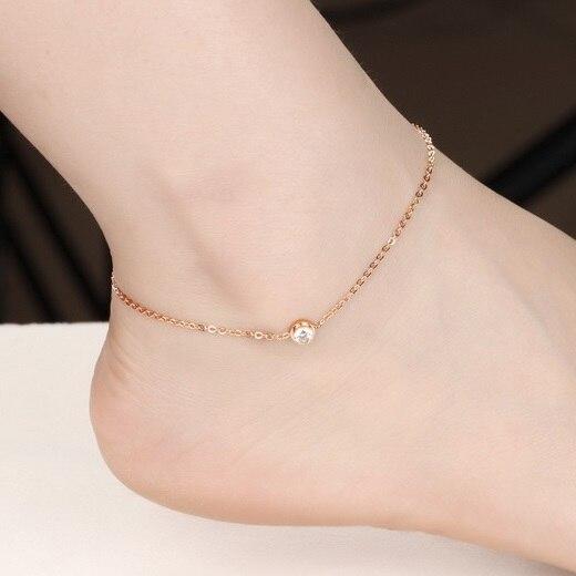 Lovely Girl Crystal Anklet Bracelet Foot Chain, Plated Rose Gold .