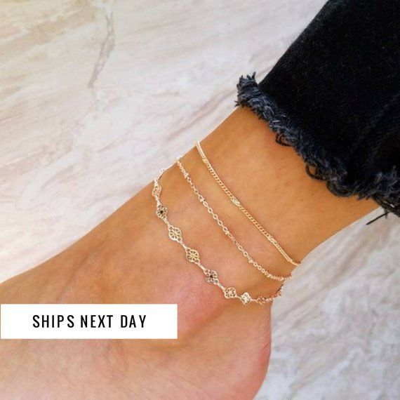 Rose Gold Anklet, Rose Gold Jewelry, Anklets for Women, Layered .