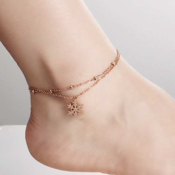 K18 Holllow Out Matte Snow Anklet Bracelet Foot Chain,Plated Rose .
