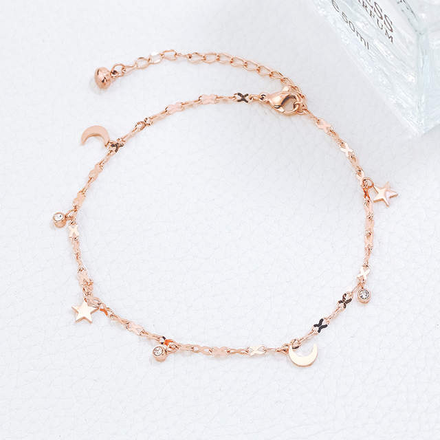 YUN RUO 2020 Fashion Rose Gold Anklet Elegant Star and Moon Chain .