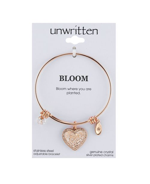 Unwritten Heart & Crystal Charm Bangle Bracelet in Rose Gold-Tone .