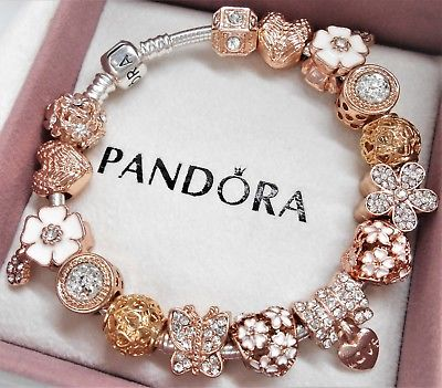 Authentic Pandora Silver Charm Bracelet ROSE GOLD LOVE HEART .