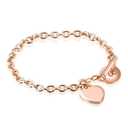 Personalized Stainless Steel Rose Gold Color Heart Charm Bracelet .