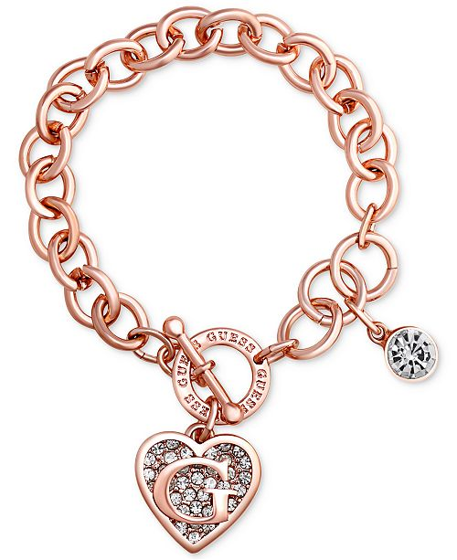 GUESS Rose Gold-Tone Link Charm Bracelet & Reviews - Bracelets .