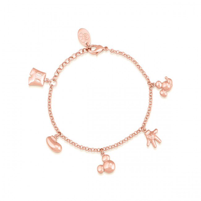 Disney Mickey Mouse 90 Years Rose Gold-Plated Icon Charm Bracelet .