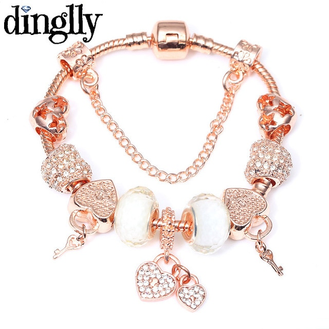 DINGLLY Rose Gold Charm Brands Bracelet For Women Feminine Girls .