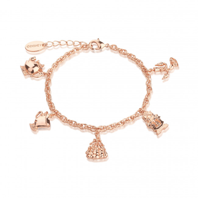 Disney Beauty & the Beast Rose Gold-Plated Characters Charm .