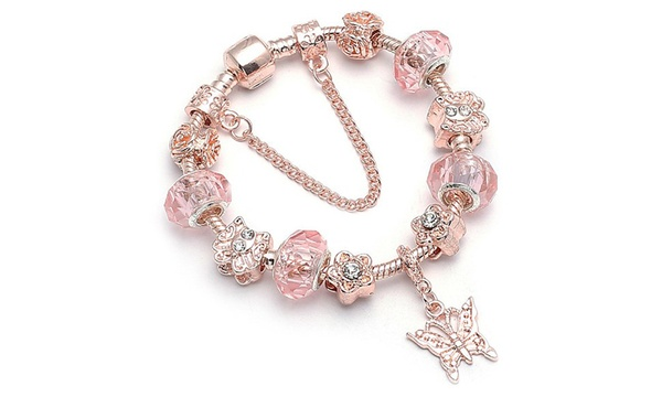 18K Rose Gold Plated Pink Crystal Butterfly Charm Bracelet Made .