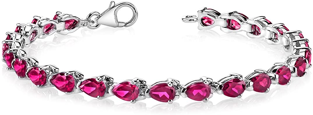 Amazon.com: Created Ruby Bracelet Sterling Silver Pear Shape 9.50 .