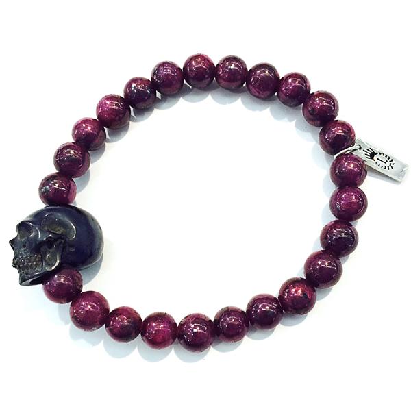 Ruby & Carved Jet Skull Bracelet - Men's Bracelets | Lazaro So