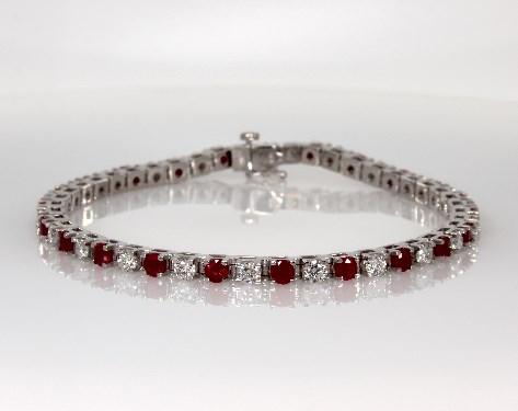 bracelets, gemstone bracelets, 14k white gold ruby and diamond .