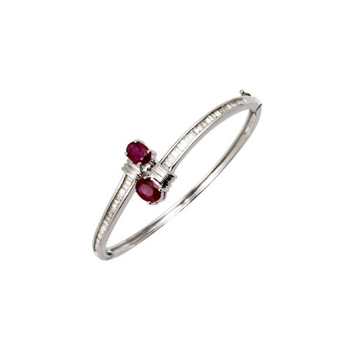 Baguette Diamonds And Ruby Bangle Bracelet at Rs 83000 /piece .