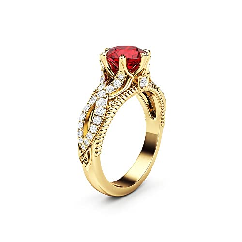 Amazon.com: Ruby Engagement Ring Vintage Engagement Ring 14K .