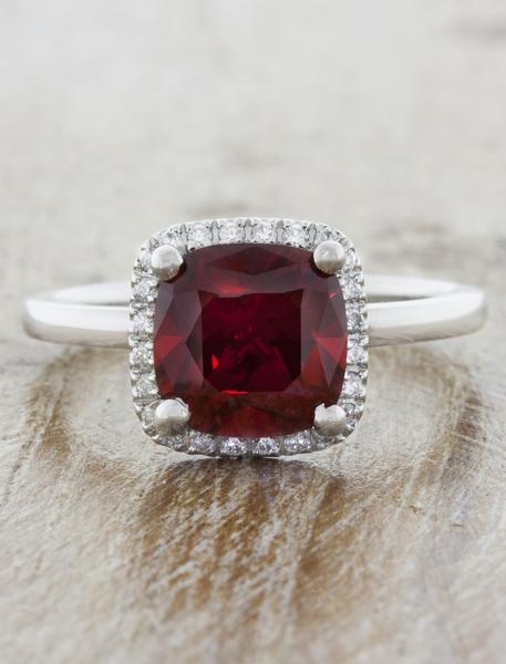 Elan: Cushion Cut Halo Ruby Engagement Ring | Ken & Dana Desi