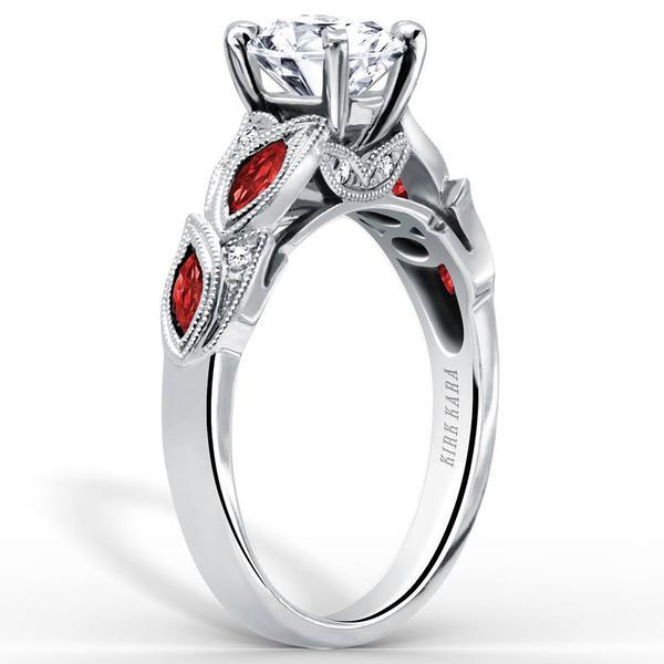 Kirk Kara White Gold Dahlia Ruby Marquise Cut Engagement Ring .