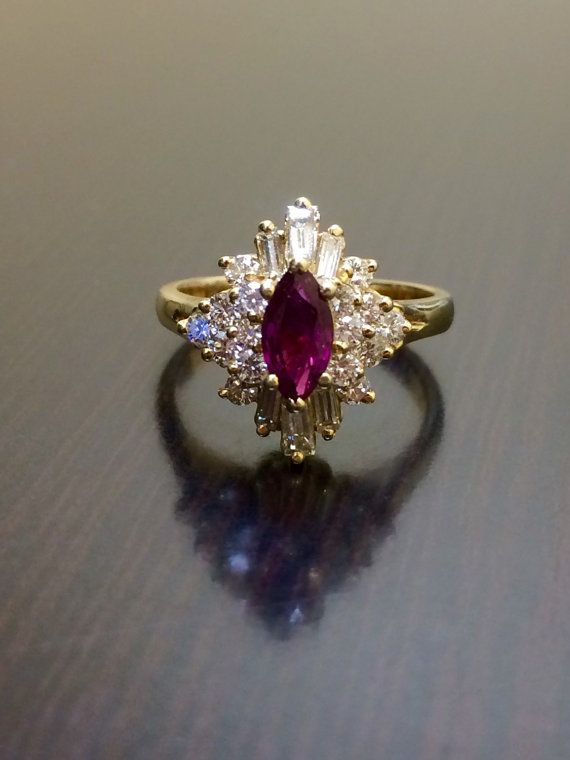 14K Yellow Gold Ruby Diamond Engagement Ring - 14K Gold Marquise .