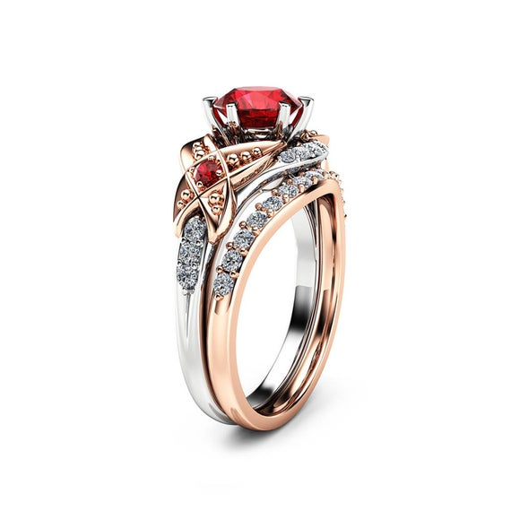 Leaf Ruby Engagement Ring Set 14K Two Tone Gold Engagement | Et