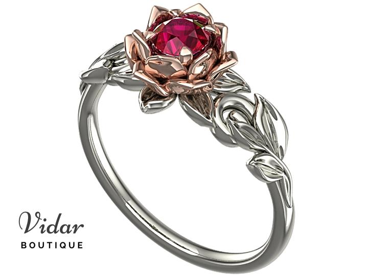 Unique Lotus Flower Ruby Engagement Ring│Vidar Boutique | Vidar .