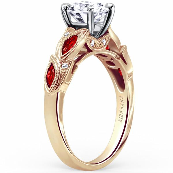 Kirk Kara Dahlia Marquise Cut Side Ruby Engagement Ring | K155RD