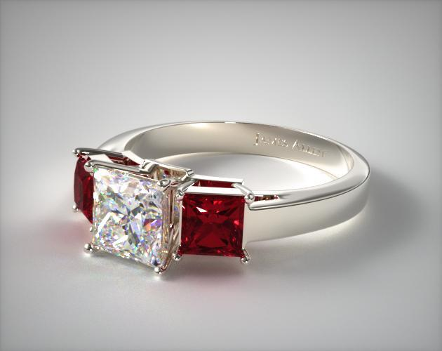 Three Stone Princess Shaped Ruby Engagement Ring | 14K White Gold .