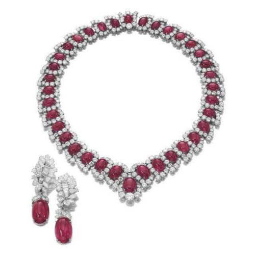 Natural Ruby Necklace Earrings with Cabochon Ruby and White Top