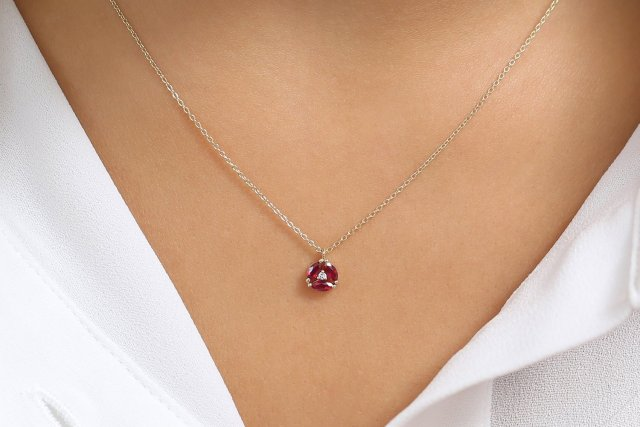 Ruby Necklace / Genuine Ruby Necklace in 14k Gold / Unique Ruby .
