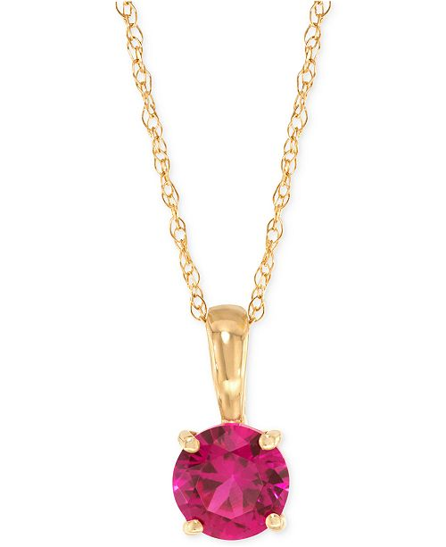 Macy's Lab-Created Ruby Pendant Necklace (5/8 ct. t.w.) in 14k .