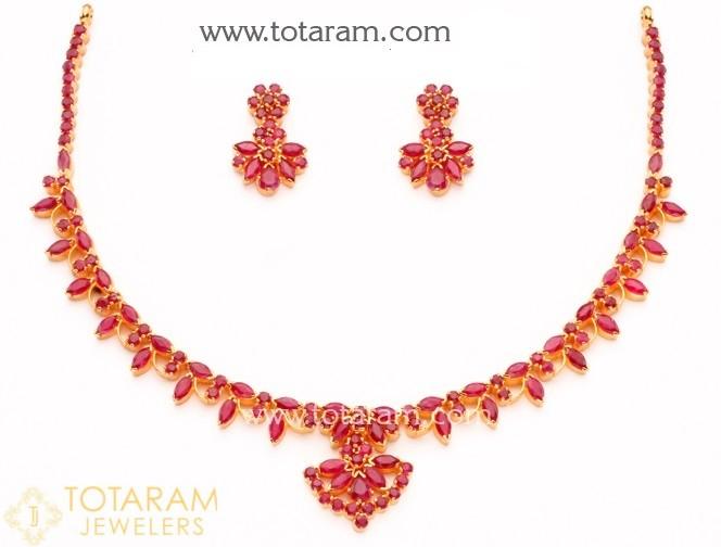 22K Gold Ruby Necklace & Drop Earrings s