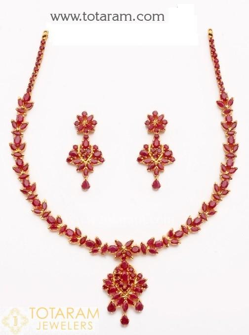 22 Karat Gold Ruby Necklace & Drop Earrings s
